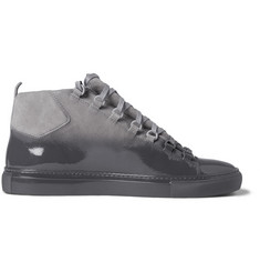 Balenciaga Arena Glossed-Suede High Top Sneakers