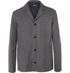 A.P.C. Grey Van Gogh Linen and Cotton-Blend Blazer