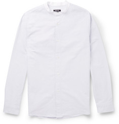 A.P.C. Pin-Dot Woven-Cotton Grandad-Collar Shirt