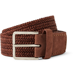 Loro Piana Brick 4.5cm Leather and Suede-Trimmed Woven Belt
