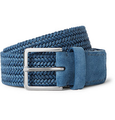 Loro Piana 3.5cm Blue Suede-Trimmed Coated Linen Woven Belt