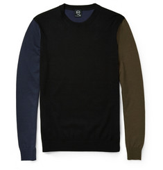 McQ Alexander McQueen Colour-Block Fine-Knit Cotton Sweater