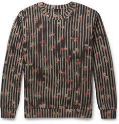 McQ Alexander McQueen Floral-Print Striped Cotton Sweatshirt