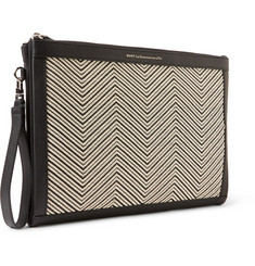 WANT Les Essentiels de la Vie Barajas Raffia-Panelled Leather A4 Document Holder