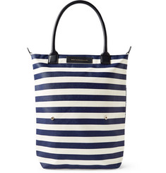 WANT Les Essentiels de la Vie Orly Leather-Trimmed Striped Organic Cotton-Canvas Tote
