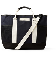 WANT Les Essentiels de la Vie Sangster Leather-Trimmed Striped Organic Cotton-Canvas Tote