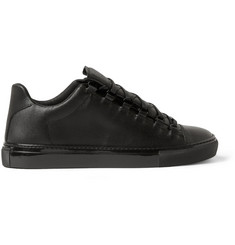 Balenciaga Arena Denim-Effect Leather High-Top Sneakers