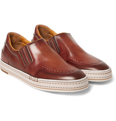 Berluti Tennis Leather Slip-On Sneakers