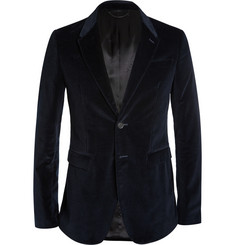 Burberry Prorsum Navy Slim-Fit Velvet Blazer