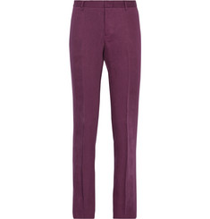 Burberry Prorsum Slim-Fit Slubbed Linen Trousers
