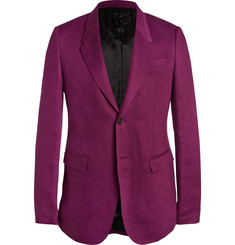 Burberry Prorsum Plum Slim-Fit Linen Jacket