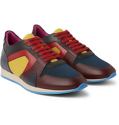 Burberry Prorsum The Field Panelled Textured-Leather and Mesh Sneakers