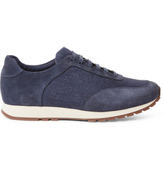 Loro Piana Weekend Walk Suede and Linen-Panelled Sneakers