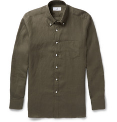 Alfred Dunhill Billy Button-Down Collar Linen Shirt