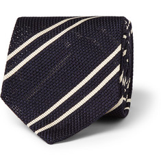Alfred Dunhill Striped Mulberry Silk Tie
