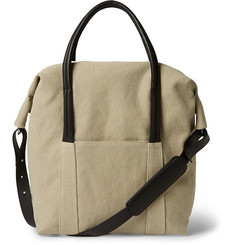 Maison Martin Margiela Leather-Trimmed Cotton-Canvas Holdall Bag