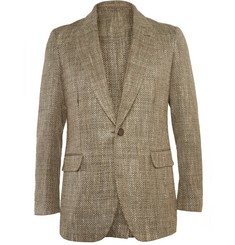 Berluti Olive Silk And Cotton-Blend Woven Melange Blazer