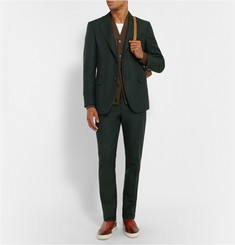 Berluti Green Slim-Fit Cotton, Mohair and Wool Blend Suit Trousers
