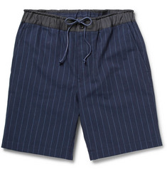 Sacai Striped Cotton and Linen-Blend Shorts
