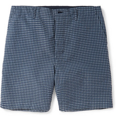 Sacai Slim-Fit Seersucker Cotton-Blend Shorts
