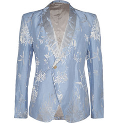 Haider Ackermann Blue Slim-Fit Floral-Jacquard Silk and Linen-Blend Blazer