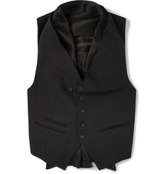 Haider Ackermann Silk-Trimmed Wool-Blend Shawl Collar Waistcoat