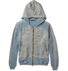 Haider Ackermann Panelled Washed Cotton-Jersey and Twill Hoodie