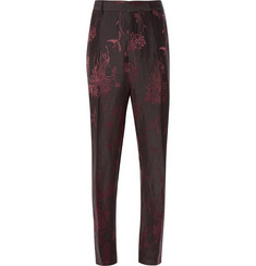 Haider Ackermann Floral-Jacquard Wide-Leg Cotton Trousers