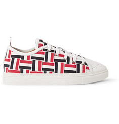 Thom Browne Woven-Grosgrain and Leather Sneakers