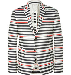Thom Browne Slim-Fit Striped Wool and Cotton-Blend Blazer