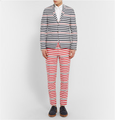 Thom Browne Striped Wool And Cotton-Blend Trousers