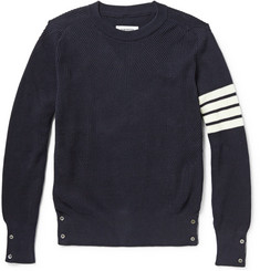 Thom Browne Striped Ribbed-Knit Cotton Sweater