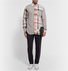 Thom Browne Button-Down Collar Checked Cotton Shirt