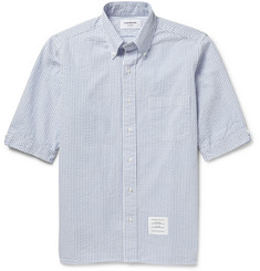 Thom Browne Striped Cotton-Seersucker Shirt