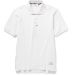 Thom Browne Contrast-Trim Cotton-Piqué Polo Shirt