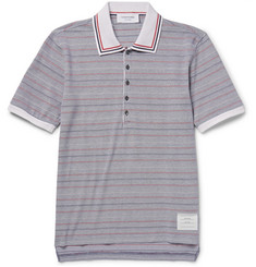 Thom Browne Striped Cotton-Piqué Polo Shirt