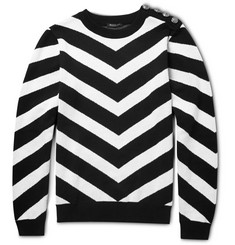 Balmain Chevron-Knit Cotton Sweater
