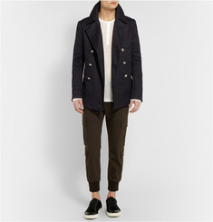 Balmain Leather-Trimmed Cotton Peacoat