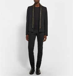Balmain Bone-Embellished Wool-Twill Blazer