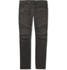 Balmain Slim-Fit Distressed Washed-Denim Biker Jeans