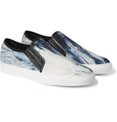 Balmain Leather and Printed Canvas Slip-On Sneakers