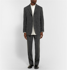 Issey Miyake Grey Woven Wool and Linen-Blend Suit Trousers