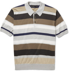 Etro Striped Cotton and Cashmere-Blend Polo Shirt