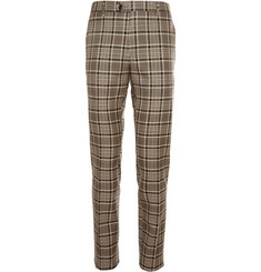 Etro Tapered Checked Wool and Cotton-Blend Trousers