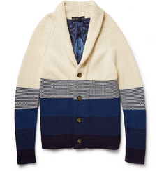 Etro Dégradé-Stripe Shawl-Collared Cotton Cardigan