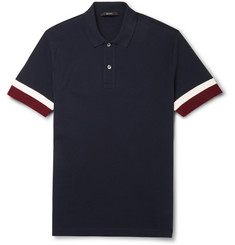 Gucci Striped-Sleeve Cotton-Pique Polo Shirt