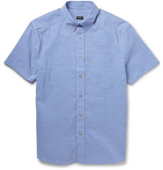 PS by Paul Smith Striped Cotton and Linen-Blend Short Sleeve Shirt
