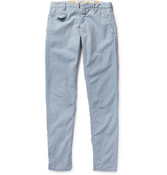 Incotex Slim-Fit Embroidered Cotton-Chambray Trousers
