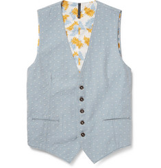 Incotex Embroidered Cotton-Chambray Waistcoat