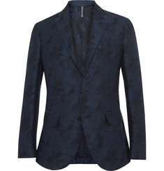 Incotex Slim-Fit Floral-Jacquard Linen and Cotton-Blend Blazer